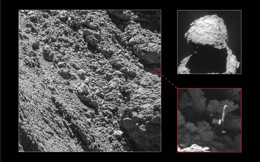 Kolaż przedstawiający pozycję lądownika Philae na powierzchni komety 67P. Źródło: ESA/Rosetta/NavCam