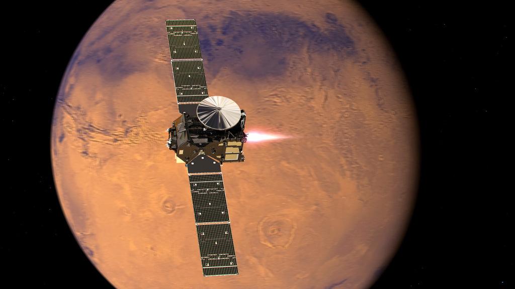 Wizualizacja sondy Trace Gas Orbiter misji ExoMars podczas manewru wejścia na orbitę Marsa. Źródło: ESA
