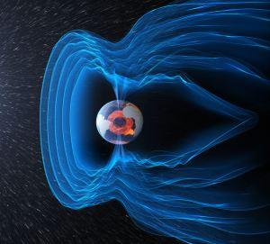 Schemat pola magnetycznego chroniącego Ziemię przed promieniowaniem kosmicznym. Źródło: ESA