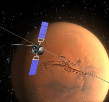 Artystyczna wizja Mars Express orbitującego wokół Czerwonej Planety.